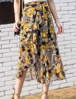 73070 #一片式雪纺系帶印花碎花半身裙  颜色:黄色  尺码:均码