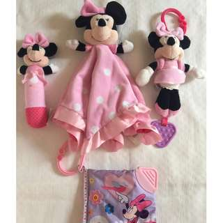 Take All Auth Disney Minnie Mouse Stuff Rattle,Soft Book, Blanket & Teether