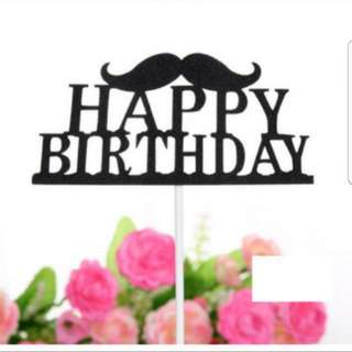 (3 for $7) Happy Birthday Mustache Cake Topper