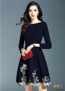 Formal: Blue European Boat Neck Gilding Embroidered A-Line Dress (S / M / L / XL / 2XL) - OA/HYD122217