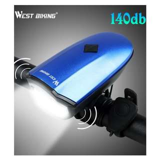 WEST BIKING Front Bell (140 dB) Light (LED T6) USB Rechargeable (Waterproof) for Escooter / Bicycles