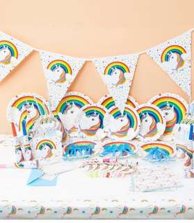 90pc Unicorn Birthday Party Tableware complete set - Paper Plates Cups Tablecloth Banner Straws Cutlery Goodie Bags