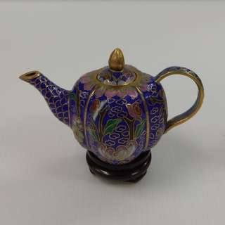 Vintage Chinese Cloisonne Pumpkin Shape Ornamental Blue Tea Pot Bronze Enamel