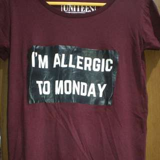 I'm allergic to Monday shirt by Unitees