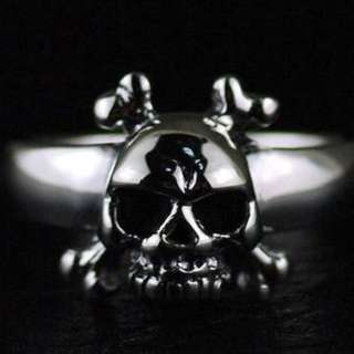Japan Gothic Jewelry Cross Bones Little Skeleton 925 Sterling Silver Gothic Ring