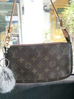 Authentic LV Pochette Wristlet Hold & Leather Shoulder bag