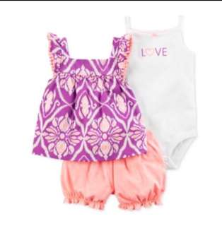 *24M* Brand new Carter's 3-Piece Bubble Short Set For Baby Girl