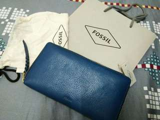 Fossil Wallet Leather in Blue