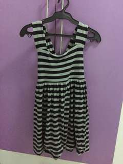 Dress with black and gray stripes