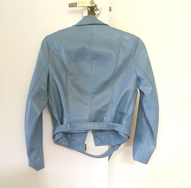 def274b95 61% off!!) Authentic Zara sky blue leather jacket, Women's Fashion ...