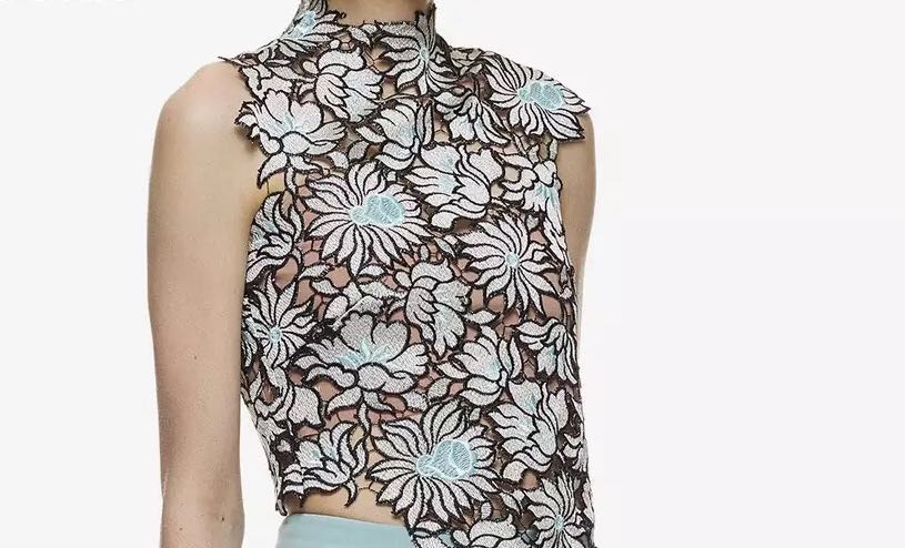 Authentic self portrait blue flower lily sleeveless top
