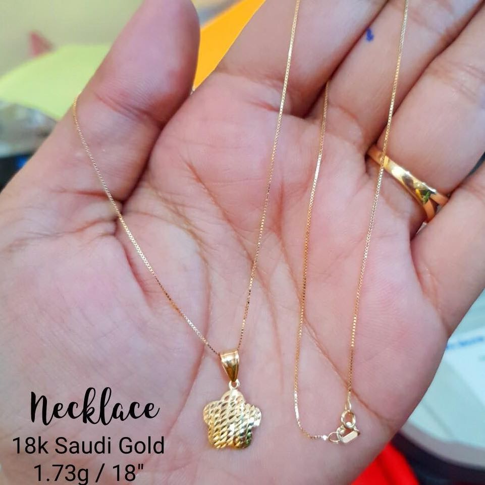 AUTHENTIC/PAWNABLE SAUDI GOLD 18K NECKLACE, Preloved Women\'s Fashion ...
