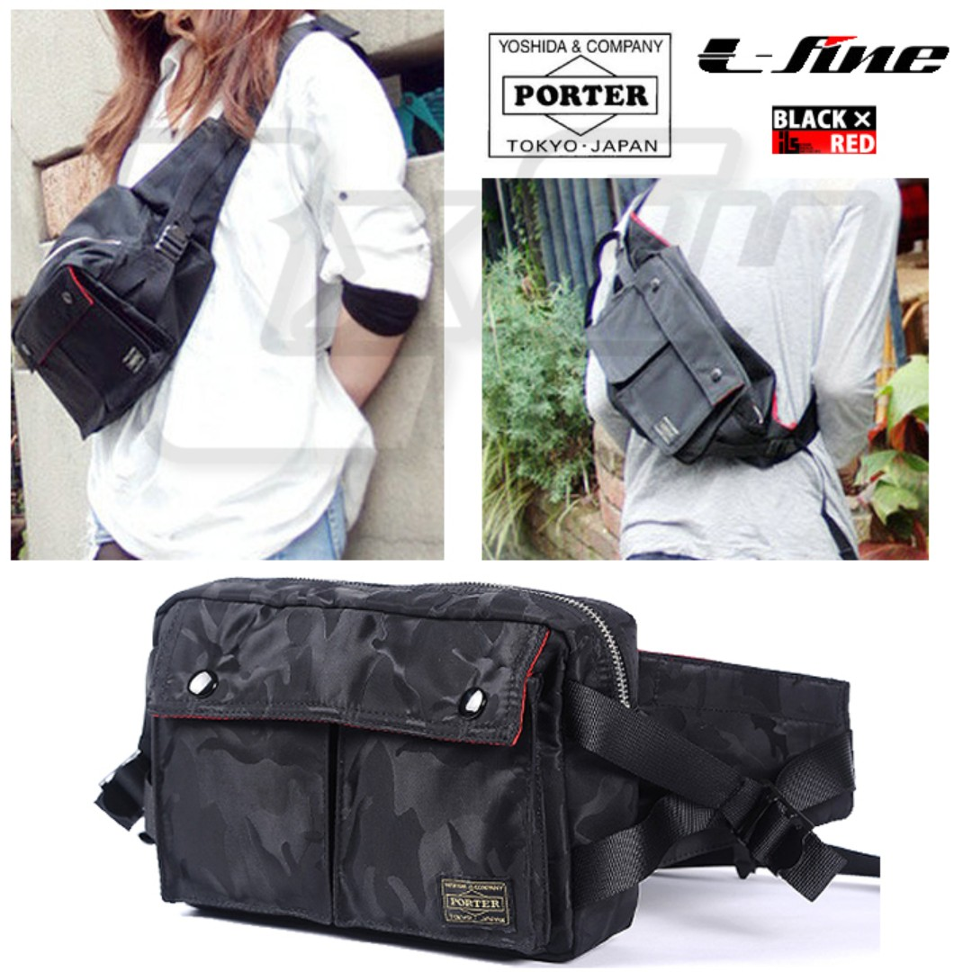 7bd7400de6 Black Camo PORTER x ILS Button Tanker Waist Pouch Chest Shoulder ...