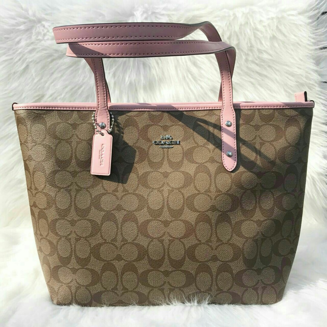 ... promo code for coach city zip tote in signature khaki blush luxury bags  wallets on carousell b3f612eaf52d9