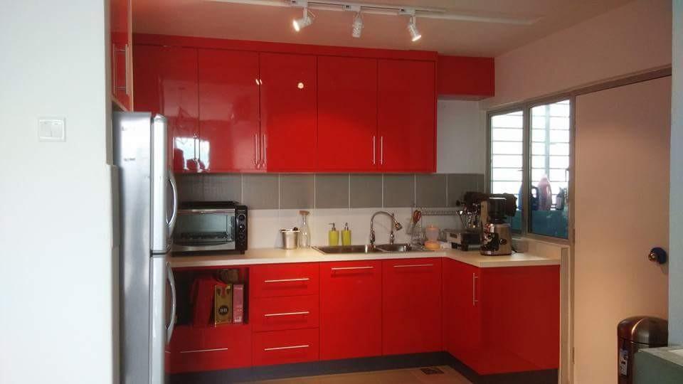 Custom Maica Red Kitchen Cabinet