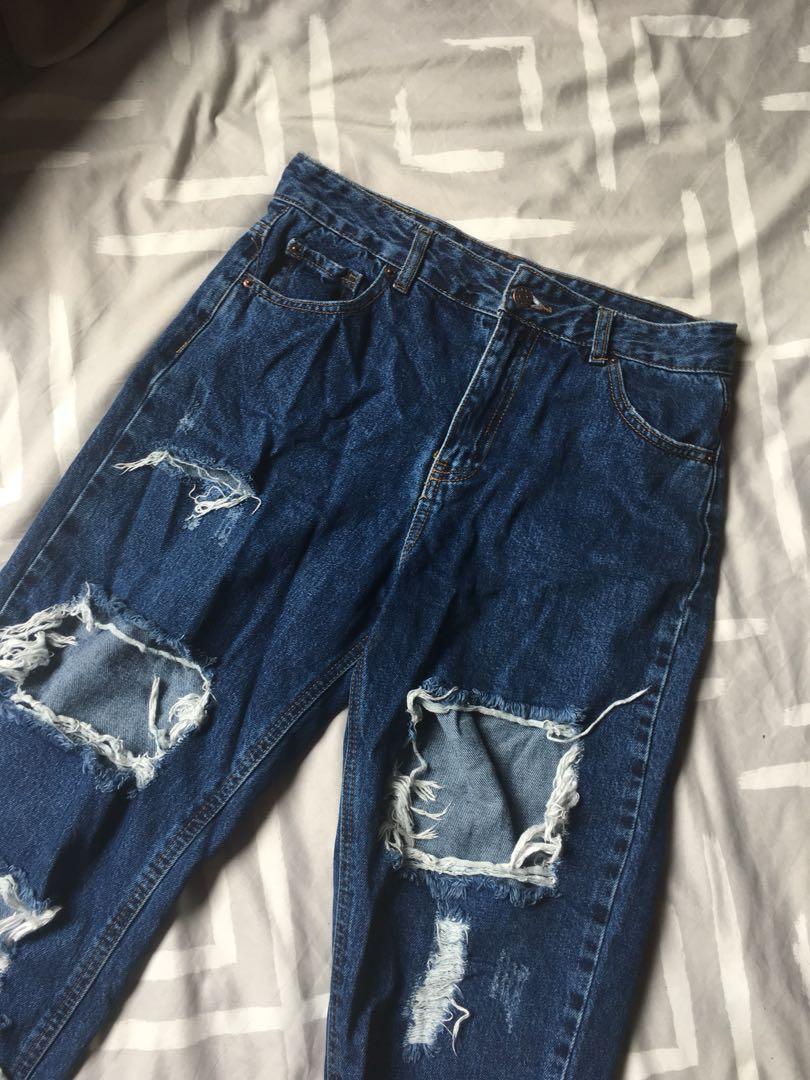 Dark blue ripped jeans