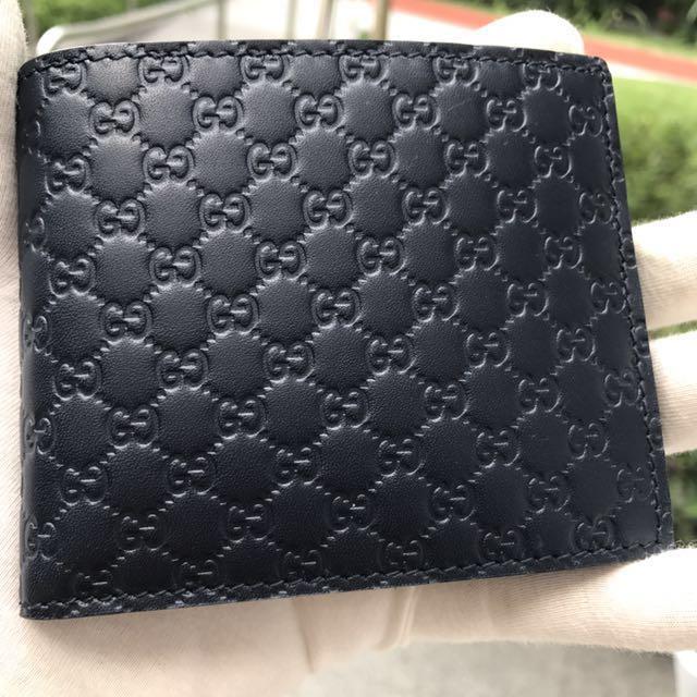 5e3e9d44fdd8 GUCCI Men's Dark Navy Blue Guccissima Leather Bifold Wallet 100 ...