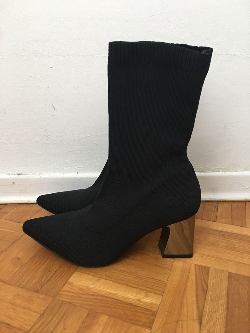Metallic Heeled Sock Boots (Zara dupe)