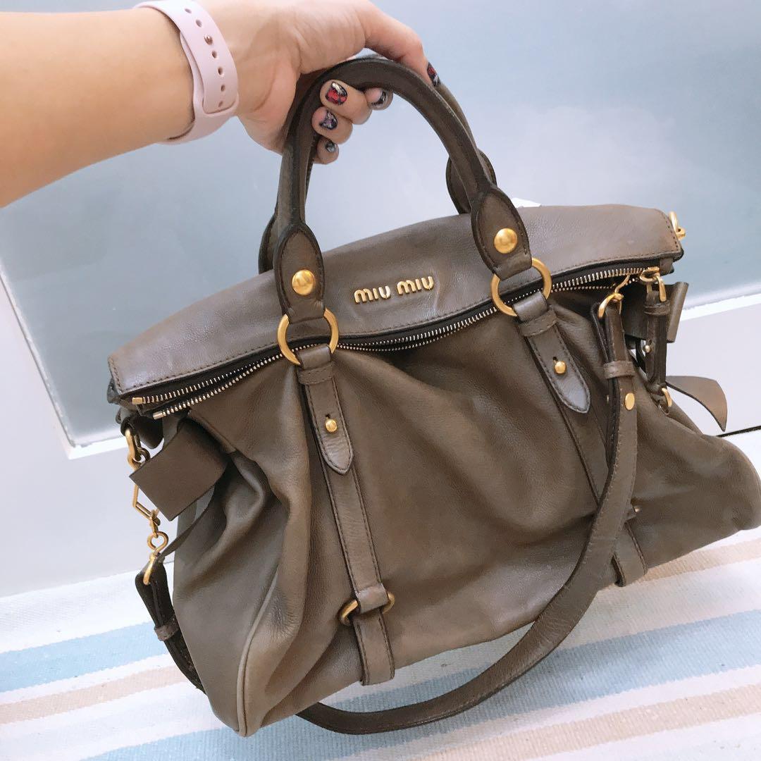 17621543e871 Miu Miu Vitello Lux Bow Satchel Bag - dove grey