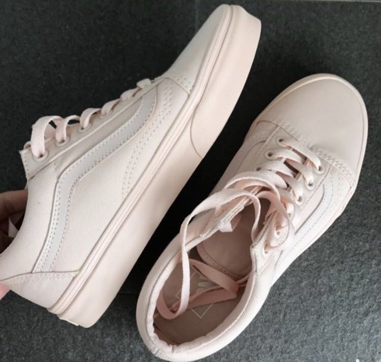 be305e36b7 🌸 NEW  Authentic Vans Pink Mono Canvas Old Skool Sneakers ...
