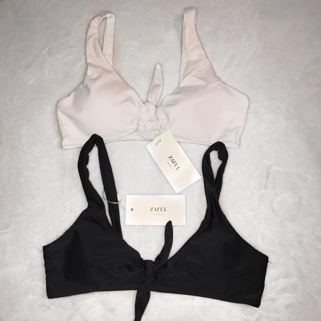 NEW ZAFUL bikini tops black and white