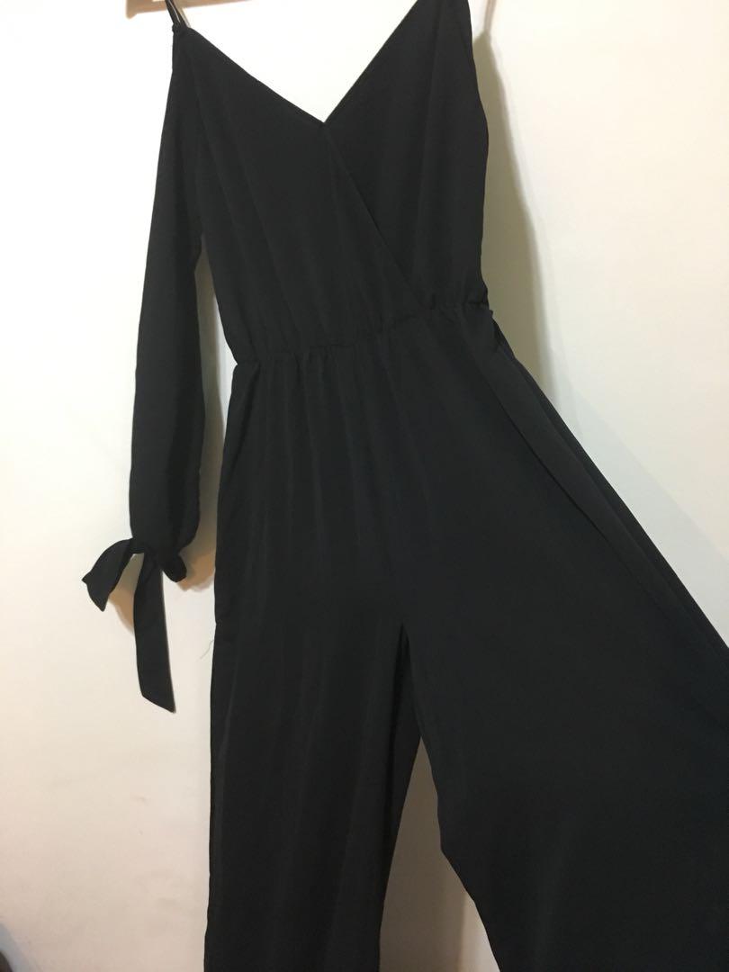 Off the shoulder black jumpsuit