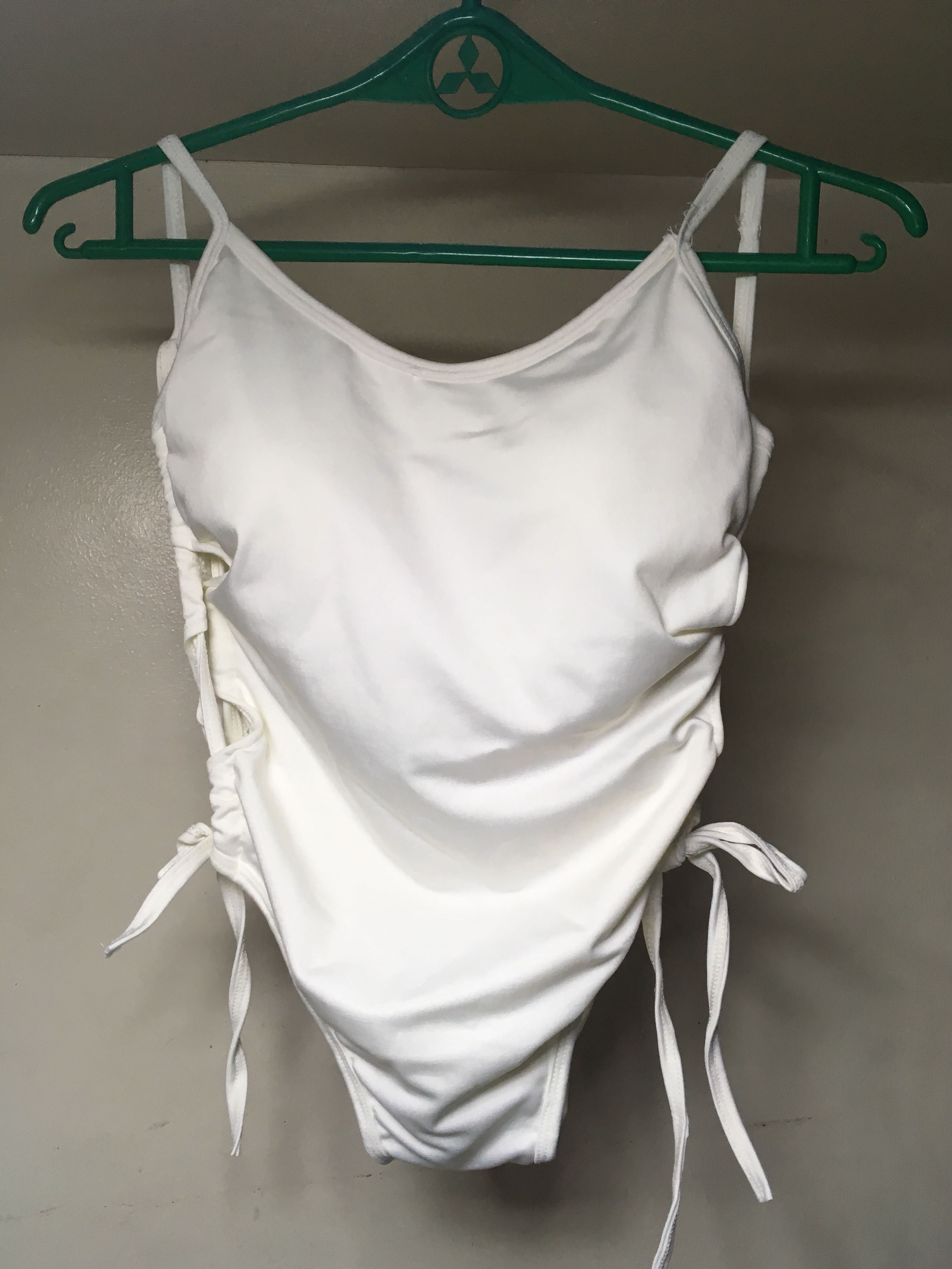 One Piece White Swimsuit with Strings