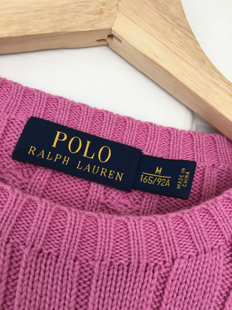 Polo Ralph Lauren Pink Cable-knit Crewneck Sweater
