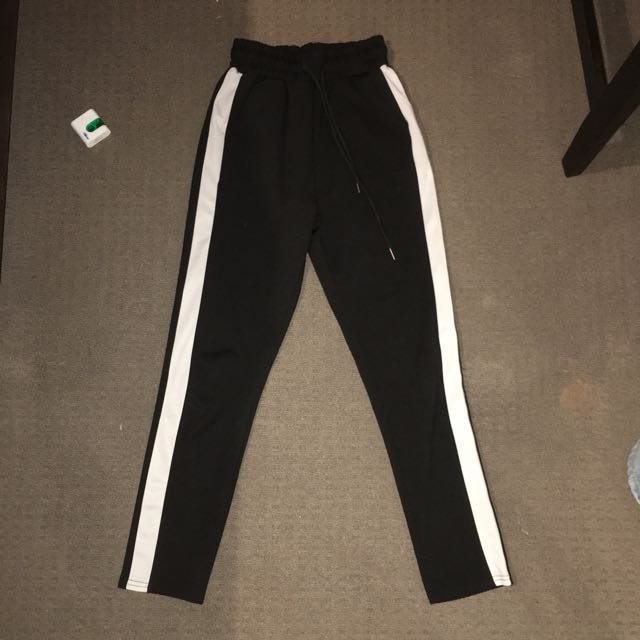 White Stripe Pants (High Waisted)