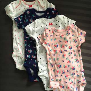 BN Set 4pcs Carters Newborn Girl romper onesies bodysuit