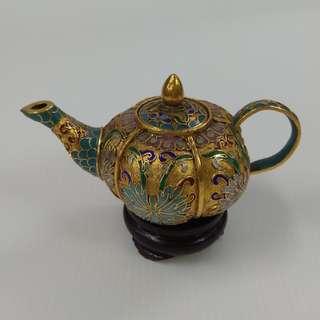 Vintage Chinese Cloisonne Pumpkin Shape Gold Plated Ornamental Tea Pot Bronze Enamel