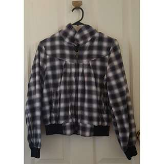 Sportsgirl Grey Silver Plaid Checkered Jacket Coat - Size 10