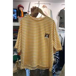 。error dot。韓製貓咪電繡條紋T