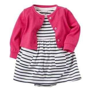 *24M* BN Carter's 2-Piece Bodysuit Dress & Cardigan Set