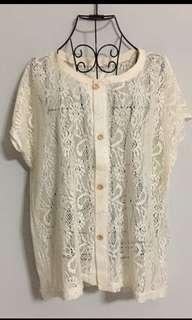 Korean Cream Colour Embroidery Lace Top74