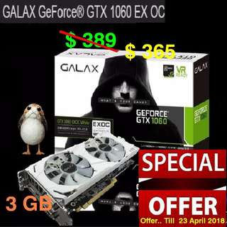 """Galax GTX 1060 EXOC White 3GB GDDR5.. ( Special Offer.. Till 23 April 2018 ) """" While Stock Last"""""""