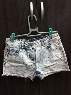Denim shorts with studs