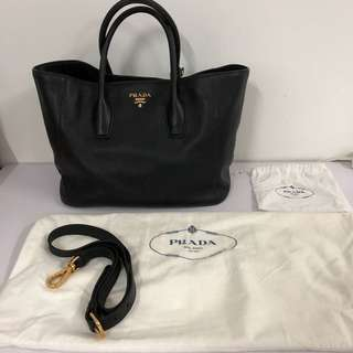 Prada BN2694 Vitello Daino Black Leather Bag