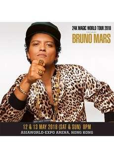 2 x $2088 Bruno Mars 24K World Tour HK 2018