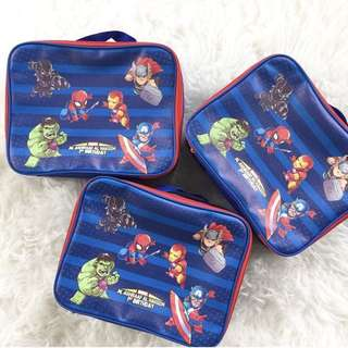 CUSTOM LUNCH BOX CANVAS POUCH captain america iron man hulk marvel