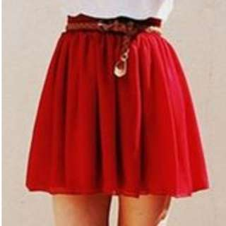 Double Layer Red Chiffon Skirt