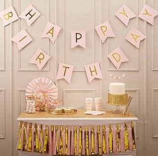 *** NEW *** 生日派对拉旗 少女粉 系列