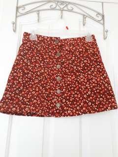 Forever 21: Burgundy Floral Skirt