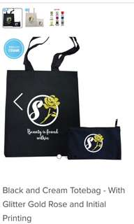 Customized Black and Cream Totebag With Zip & Without Zip - With Glitter Gold Rose and Initial Printing