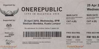 2 Tix - Onerepublic Live in KL CAT 4