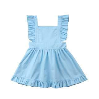 Baby Blue Flutter Sleeve Dress 6 Months to 5 Year Old
