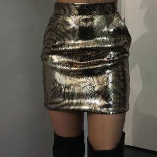 cheetah print sequin skirt
