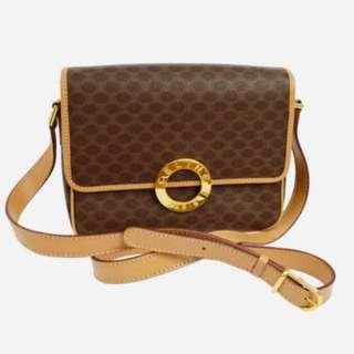 中古 Celine vintage 金圈 斜孭袋 Crossbody Bag 85%新