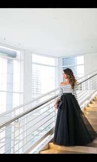 Stripe Top & Skirt Gown Dress Terno