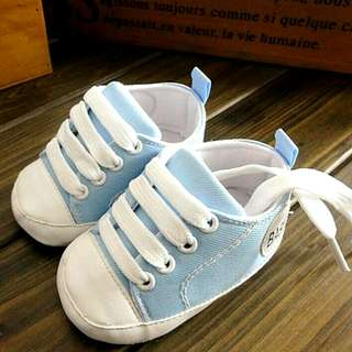 Baby Walker Shoes Light Pastel Sky Blue 1 Pair Toddler Infant Child Children Boy Girl Casual Wear Accessory Shoe Laces Converse Look Alike Inspired Canvas Shoes Brand New Normal Mail